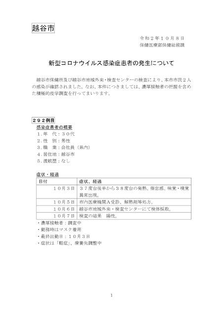 新型コロナウイルス感染症患者の発生について(10月8日発表)