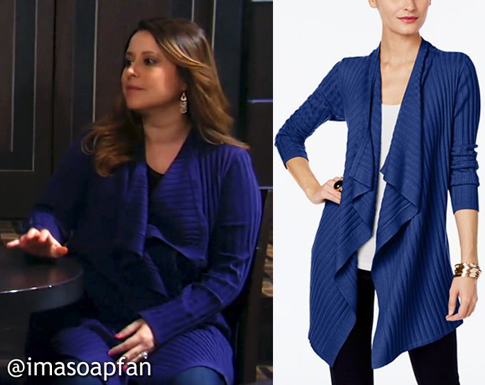 Robin Scorpio-Drake, Kimberly McCullough, Draped Blue Ribbed Cardigan, GH, General Hospital