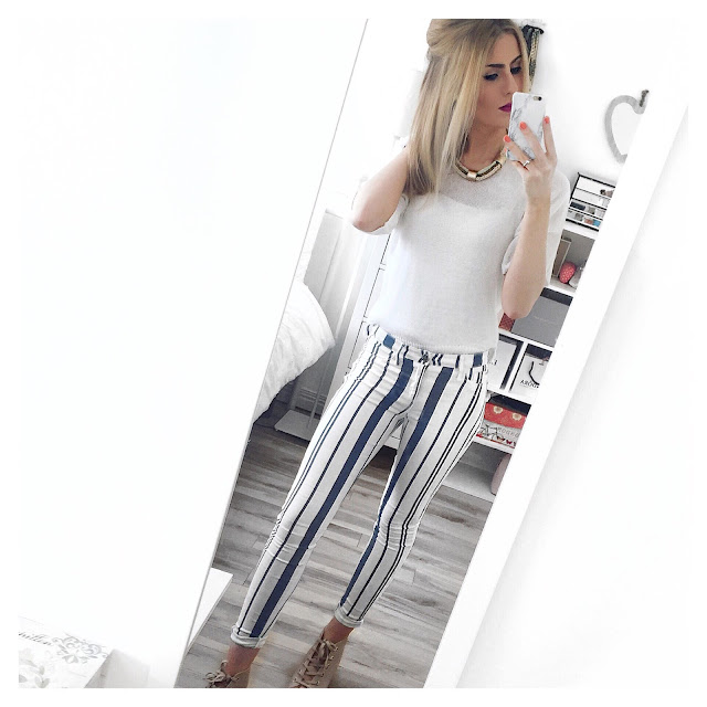 river island blue white stripe jeans