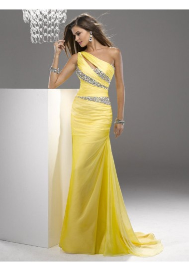 Sheath/Column One Shoulder Sleeveless Sweep/Brush Trainh Chiffon Prom Dress