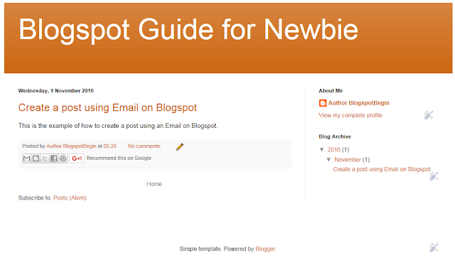 The Result of Creating a Post Using Email on Blogspot