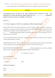 Board Resolution for Non-compliances of Environmental Laws