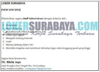 Bursa Kerja Surabaya Terbaru di CV. Mulia Jaya Juni 2019