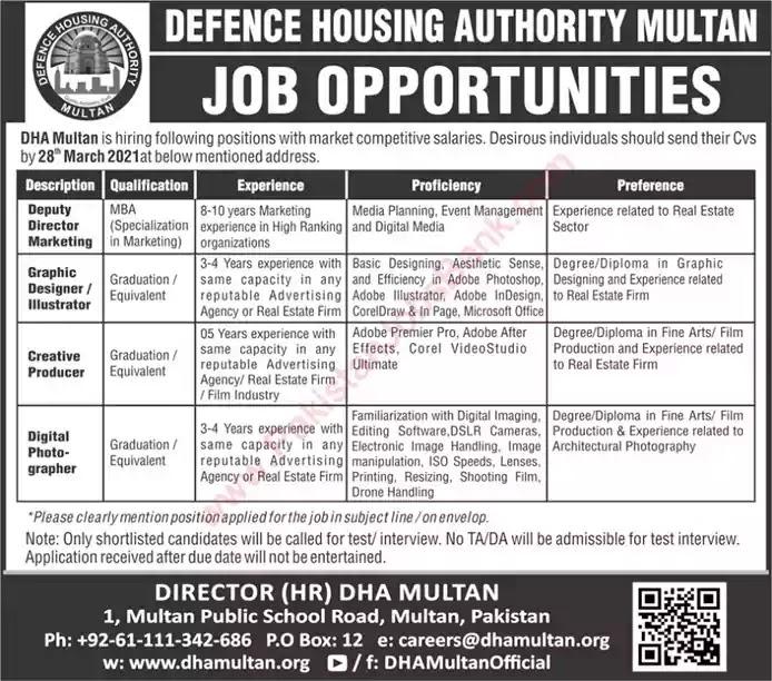 New Jobs in Pakistan Defence Housing Authority Multan Jobs 2021