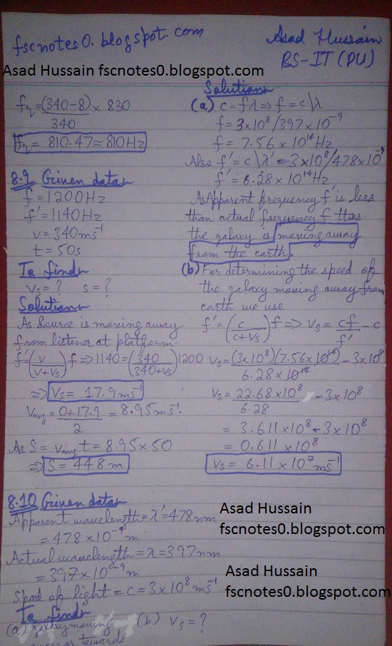 F.Sc ICS Notes: Physics XI: Chapter 8 Waves Numerical Problems Asad Hussain 3