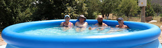 All four of us in the pool