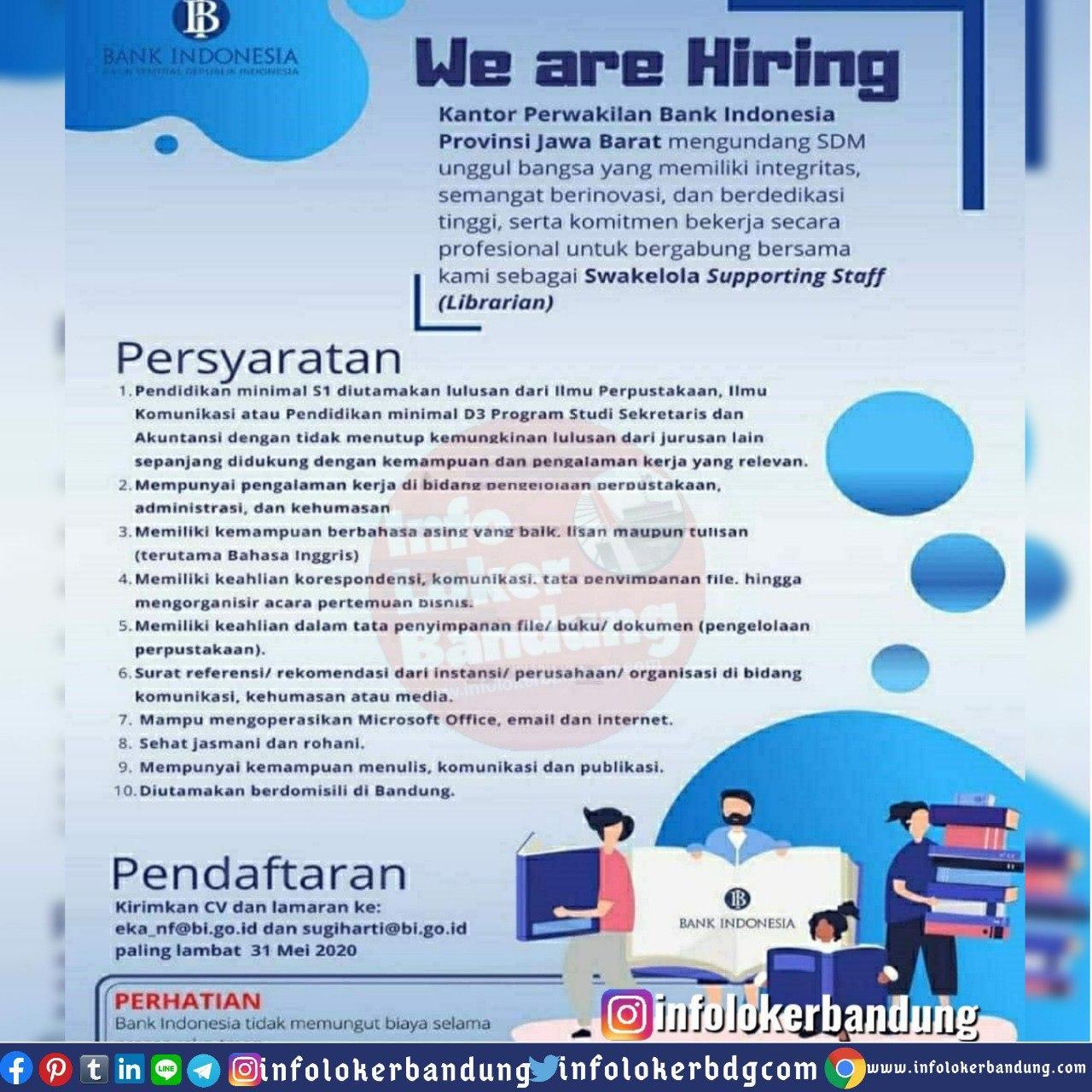 Lowongan Kerja Swakelola Supporting Staff ( Librarian ) Bank Indoensia Provinsi Jawa Barat Mei 2020