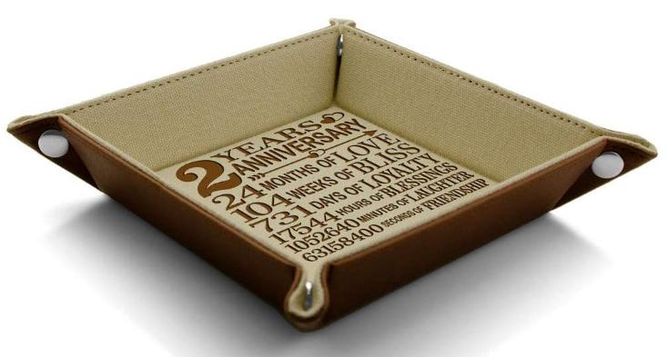2 year wedding anniversary gift cotton jewelry tray