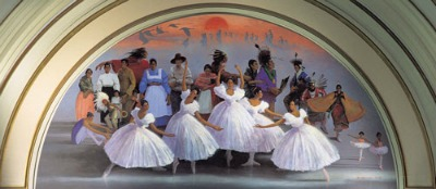 Mural name Flight of Spirit depicting Oklahoma's ballerinas named The Five Moons