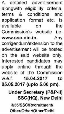 SSC Junior Hindi Translator Recruitment 2017