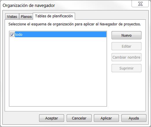 Tablas en el organizador del navegador
