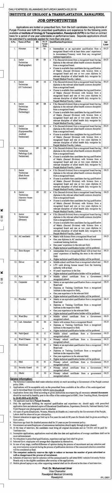Institute of Urology & Transplantation Jobs in Rawalpindi 2018