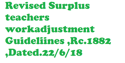 Revised Surplus teachers workadjustment Guideliines ,Rc.1882 ,Dated.22/6/18