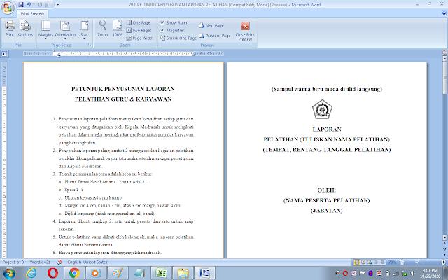 Petunjuk penyusunan laporan pelatihan guru & karyawan sekolah