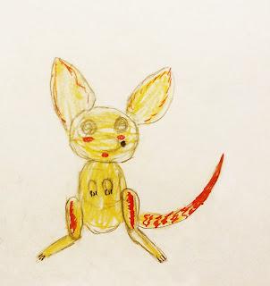 детский рисунок волшебный зверёк, африканский фенёк, скрещенный с барханным котом, проект 100 дней