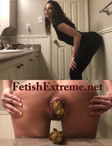 Girl in black leggings tease counter poop. Pregnant pooping in the kitchen (Pooping fetishextreme 430-435)