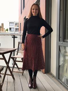 Maroon Polka Dot Evie Bias Skirt
