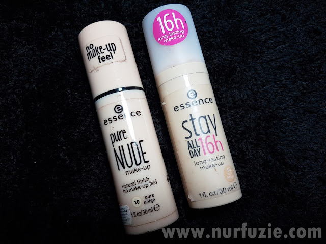 Perbezaan Essence Stay All Day 16 Hour Long Lasting Makeup dan Essence Pure Nude Make-Up