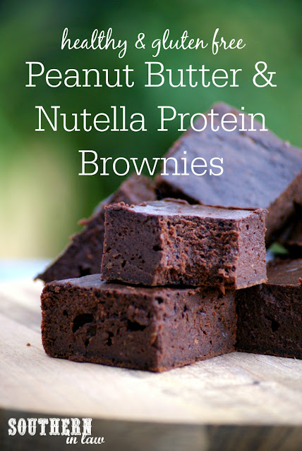 Low Calorie Peanut Butter and Nutella Protein Brownies Recipe | low fat, gluten free, clean eating friendly, high protein, low carb, healthy
