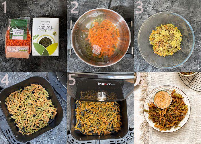 Step by step images of TikTok Air Fryer Lentil Pasta Chips