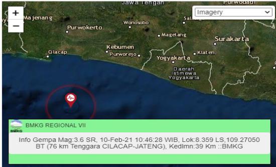 Lagi, Cilacap Diguncang Gempa 3,6 Magnitudo