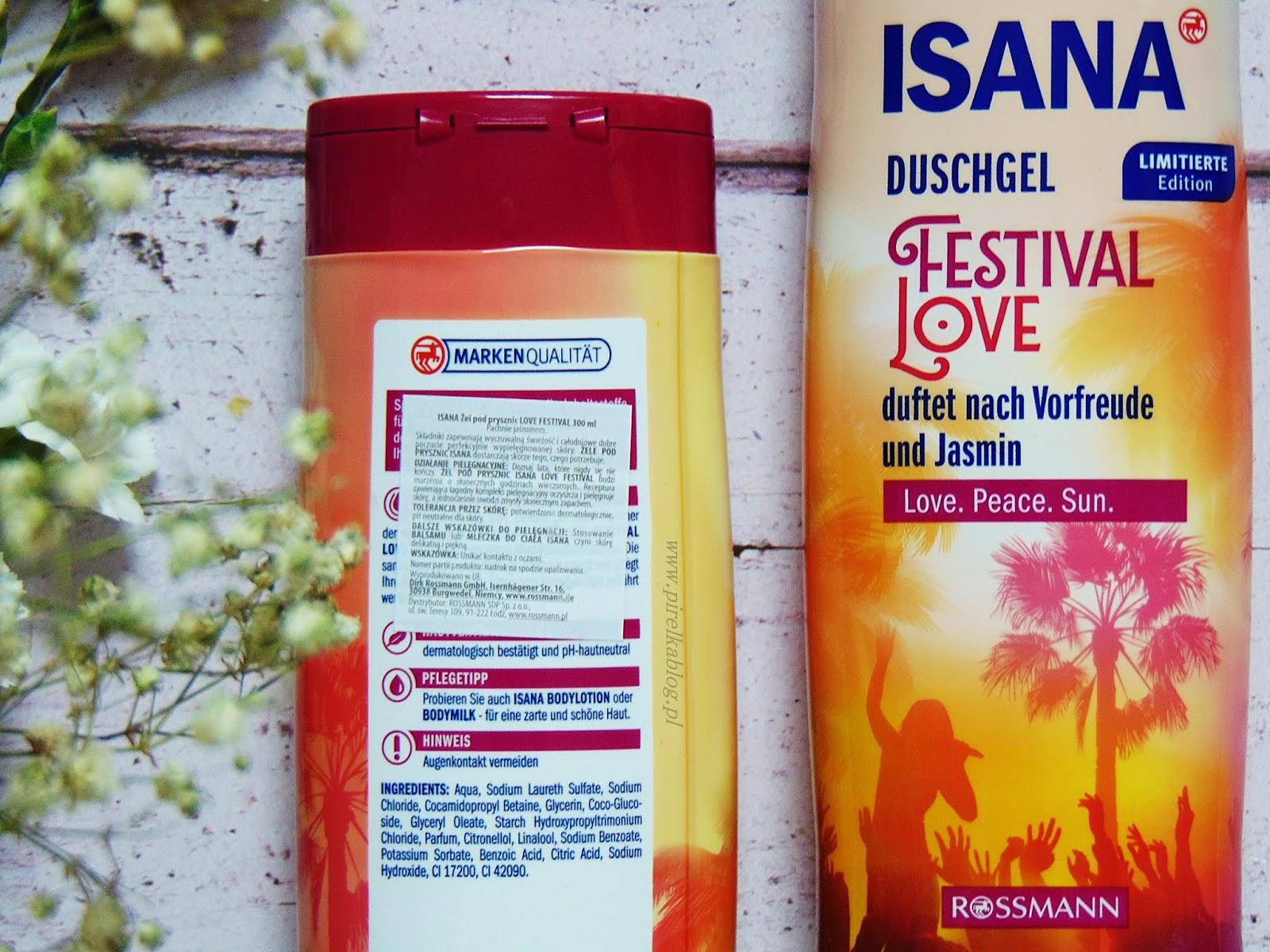 Isana, Festival Love - żel pod prysznic o zapachu jaśminu