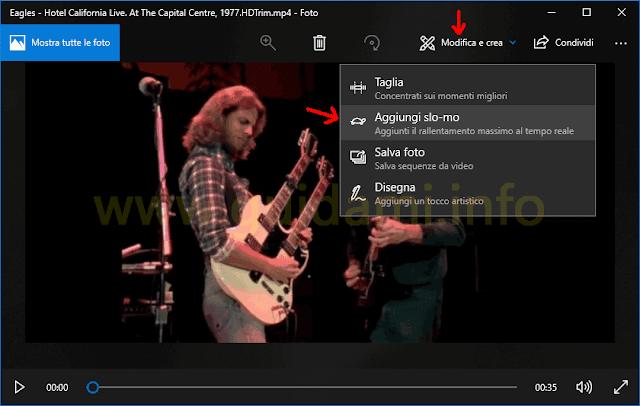 App Foto Windows 10 menu opzione Aggiungi slo-mo