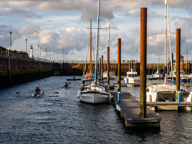 Photo of sea cadets canoeing in Maryport Marina on Wednesday evening