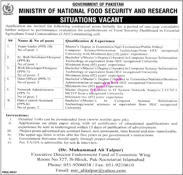 Ministry of National Food Security & Research MNFSR   Latest  Jobs 2021