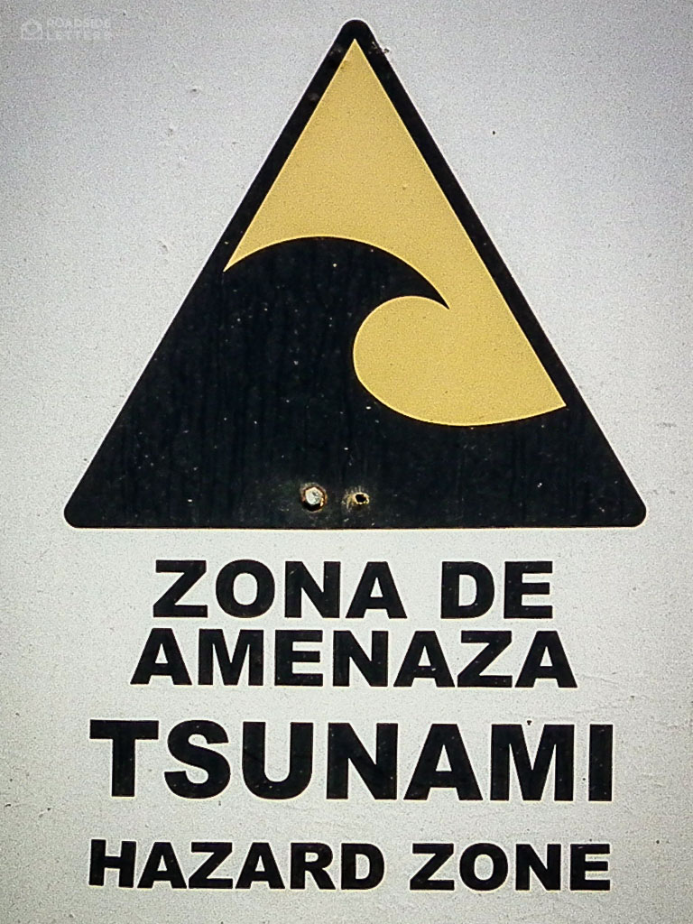 Sign warning against tsunami in Chile