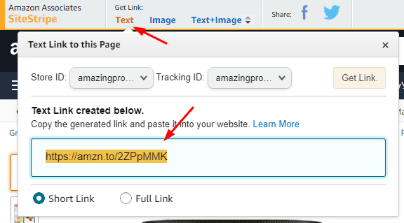 Create affiliate link using sitestripe