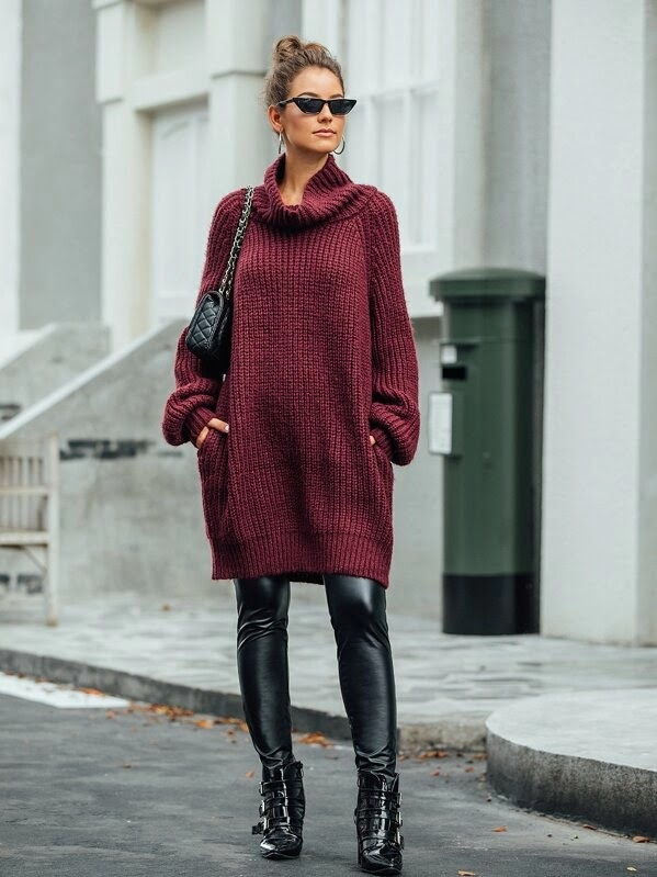 Outfits Ideas #3 - High Neck Pocket Side Sweater Dress