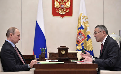 Vladimir Putin with Head of Kalmykia Alexei Orlov.