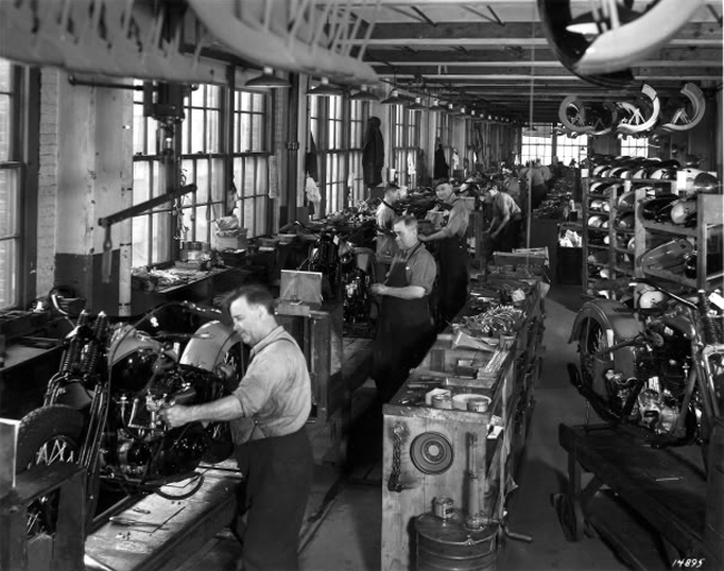 A Look Inside The Harley Davidson Factory Of Yesteryear