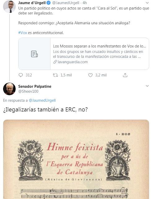 """Jaume d'Urgell VS Senador Palpatine Un partido político en cuyos actos se canta el """"Cara al sol"""", es un partido que debe ser ilegalizado. - Ilegalizarías también a ERC, no?"""