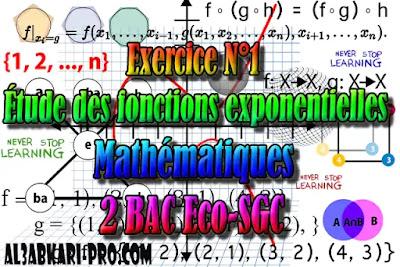 Exercice N°1 Fonctions exponentielles,  Mathématiques, 2 Bac Sciences Économiques, 2 Bac Sciences de Gestion Comptable, Suites numériques, Limites et continuité, Dérivation et étude des fonctions, Fonctions logarithmiques, Fonctions exponentielles, Fonctions primitives et calcul intégral, Dénombrement et probabilités, Examens Nationaux Mathématiques, 2 bac, Examen National, baccalauréat, bac maroc, BAC, 2 éme Bac, Exercices, Cours, devoirs, examen nationaux, exercice, 2ème Baccalauréat, prof de soutien scolaire a domicile, cours gratuit, cours gratuit en ligne, cours particuliers, cours à domicile, soutien scolaire à domicile, les cours particuliers, cours de soutien, les cours de soutien, cours online, cour online.