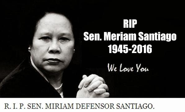 BREAKING NEWS: Sen.Meriam Santiago Passes Away At 71