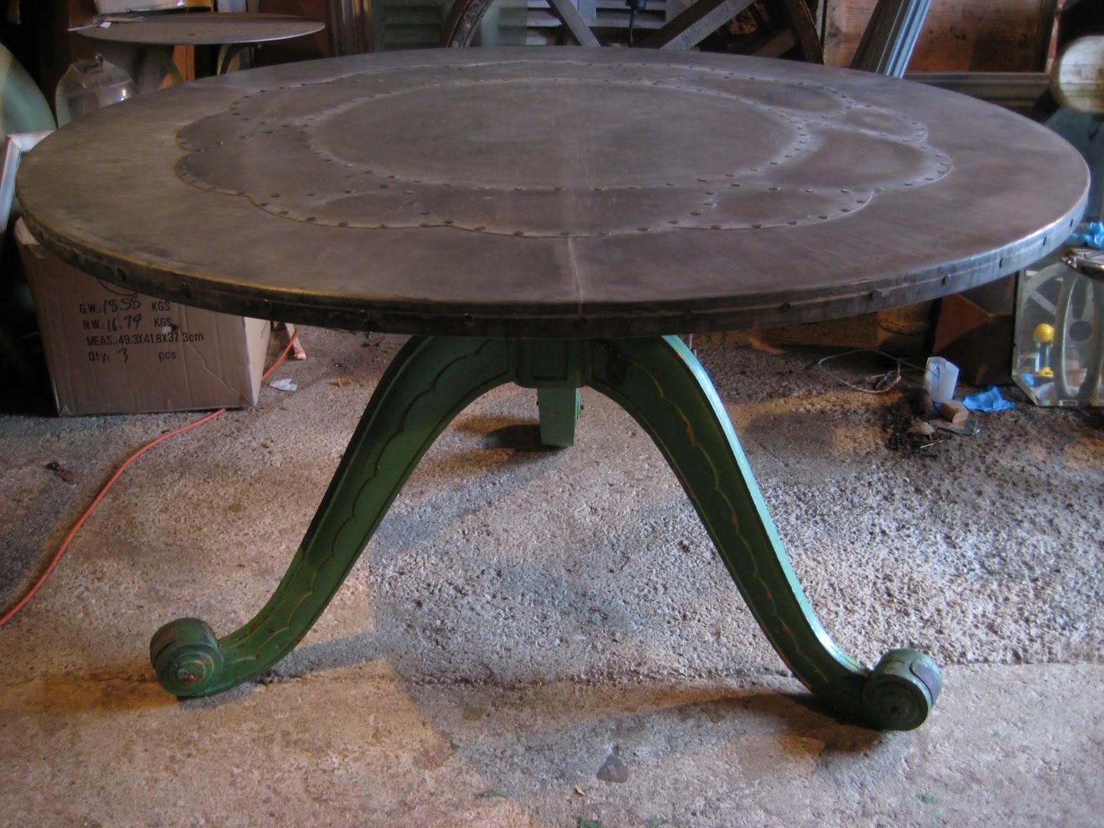 Deballage Designs Circular Table With A Zinc Top Studded Geometric Fl Motif