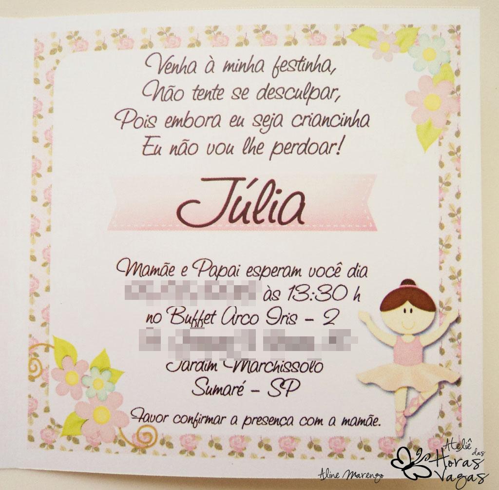 convite artesanal provençal floral delicado bailarina aniversário 1 aninho infantil rosa