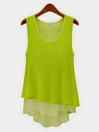 Round Neck Sleeveless Chiffon T-Shirt