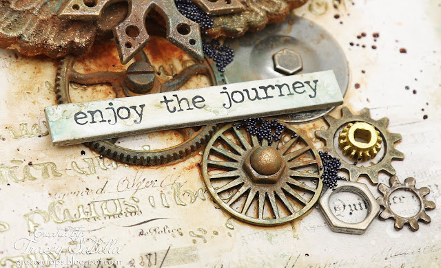 """Enjoy the Journey Card by Tracey Sabella #mixedmediacard #mixedmedia #rust #steampunk #finnabair #primamarketing #49andmarket #timholtz #helmar #scrapbookadhesivesby3L"