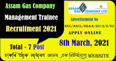 Assam Gas Company Management Trainee Recruitment 2021