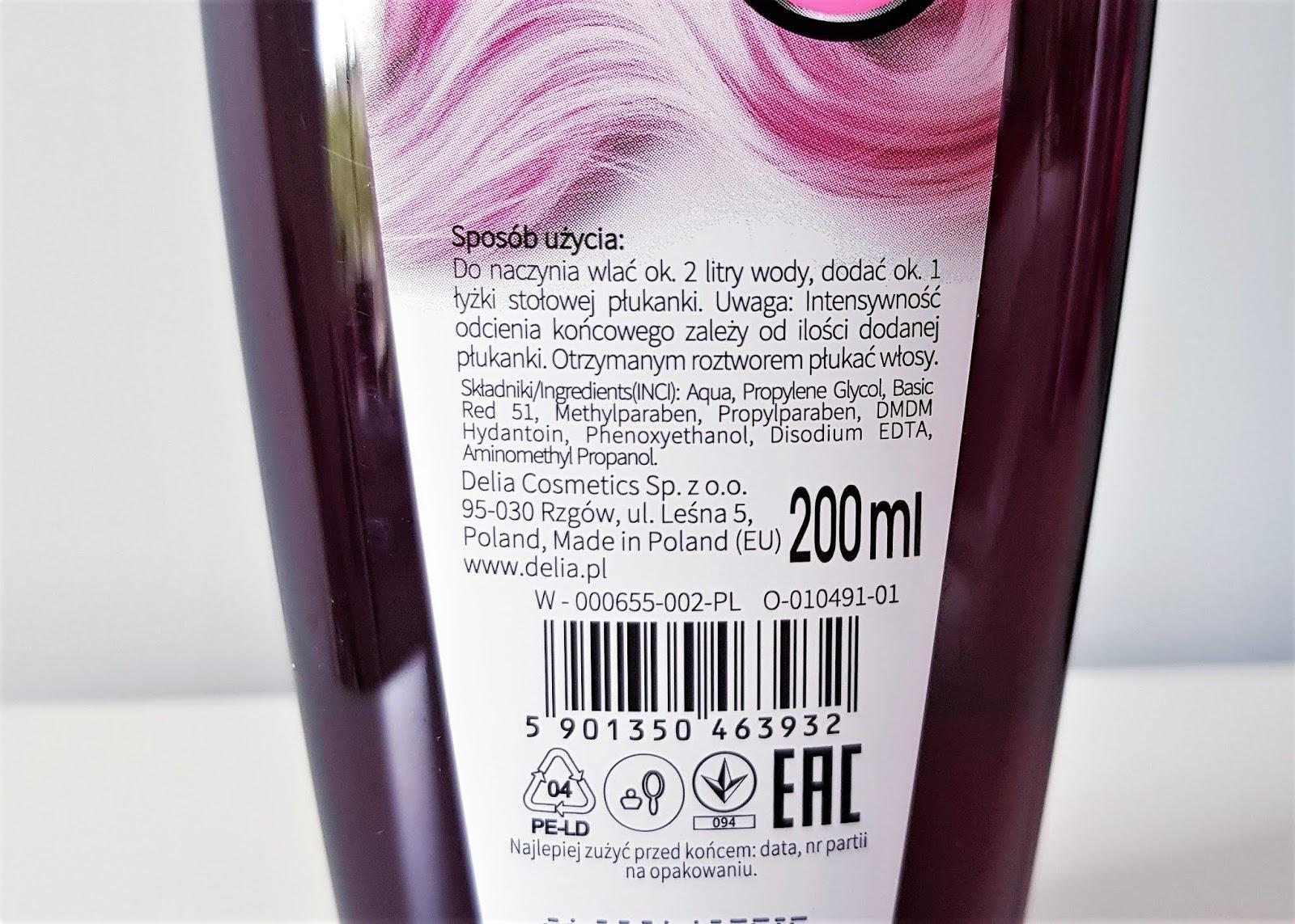 Delia cosmetics cameleo płukanka do włosów różowa