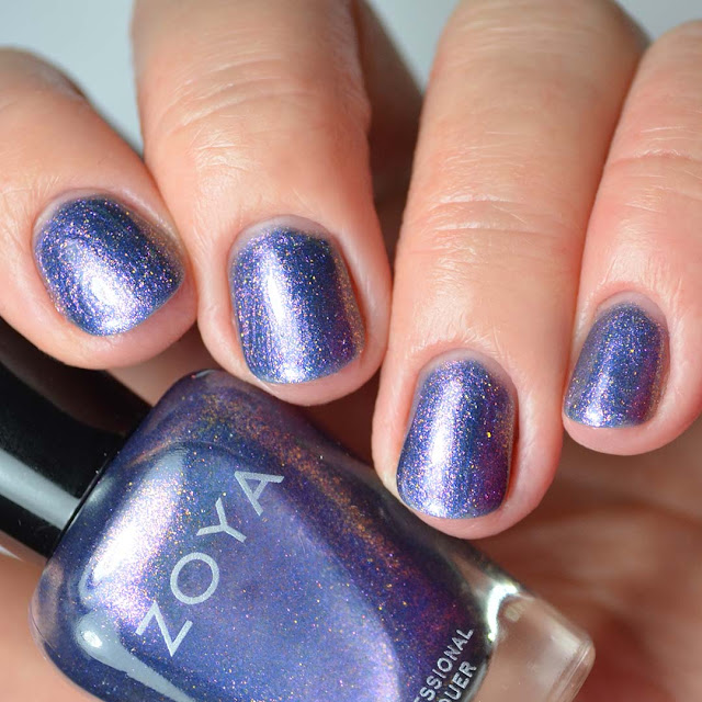 purple duochrome nail polish four finger swatch