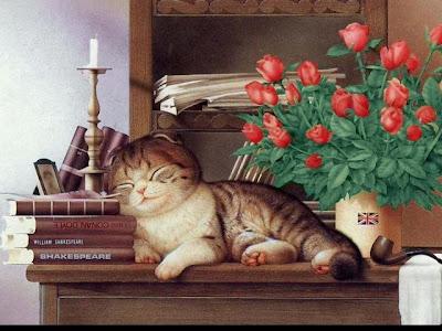 Кот спит на книгах. Картина Мурамацу