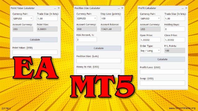 สอน Forex เบื้องต้น : EA MT5 Forex Calculator : Point Value, Position Size, Profit เครื่องคิดเลข forex สำหรับเทรดเดอร์