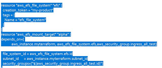 Adding EFS file System