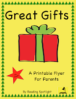 This flyer reminds parents about important gifts that do not cost a penny