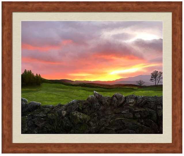 sunset over a dry stone wall, landscape art,