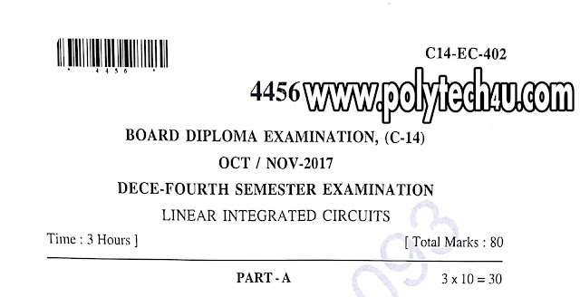 LINEAR INTEGRATED CIRCUITS DIPLOMA QUESTION PAPER C-14 2017
